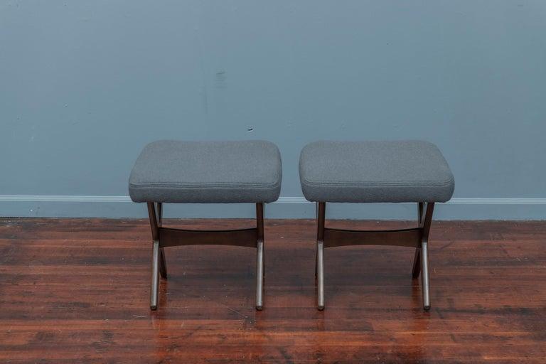 Mid-Century Modern Folke Ohlsson for DUX Upholstered Stools For Sale