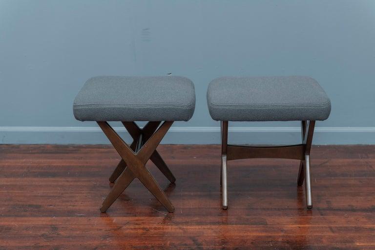 Swedish Folke Ohlsson for DUX Upholstered Stools For Sale