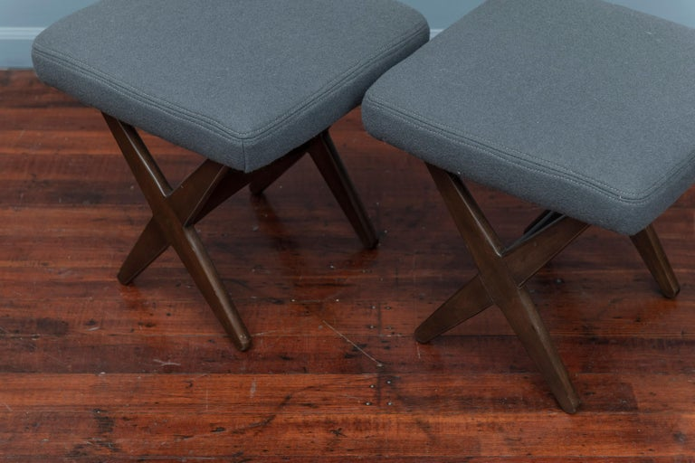 Folke Ohlsson for DUX Upholstered Stools In Good Condition For Sale In San Francisco, CA