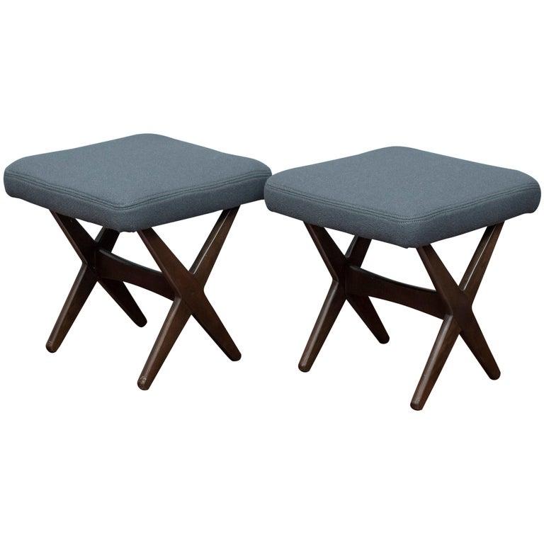 Folke Ohlsson for DUX Upholstered Stools For Sale