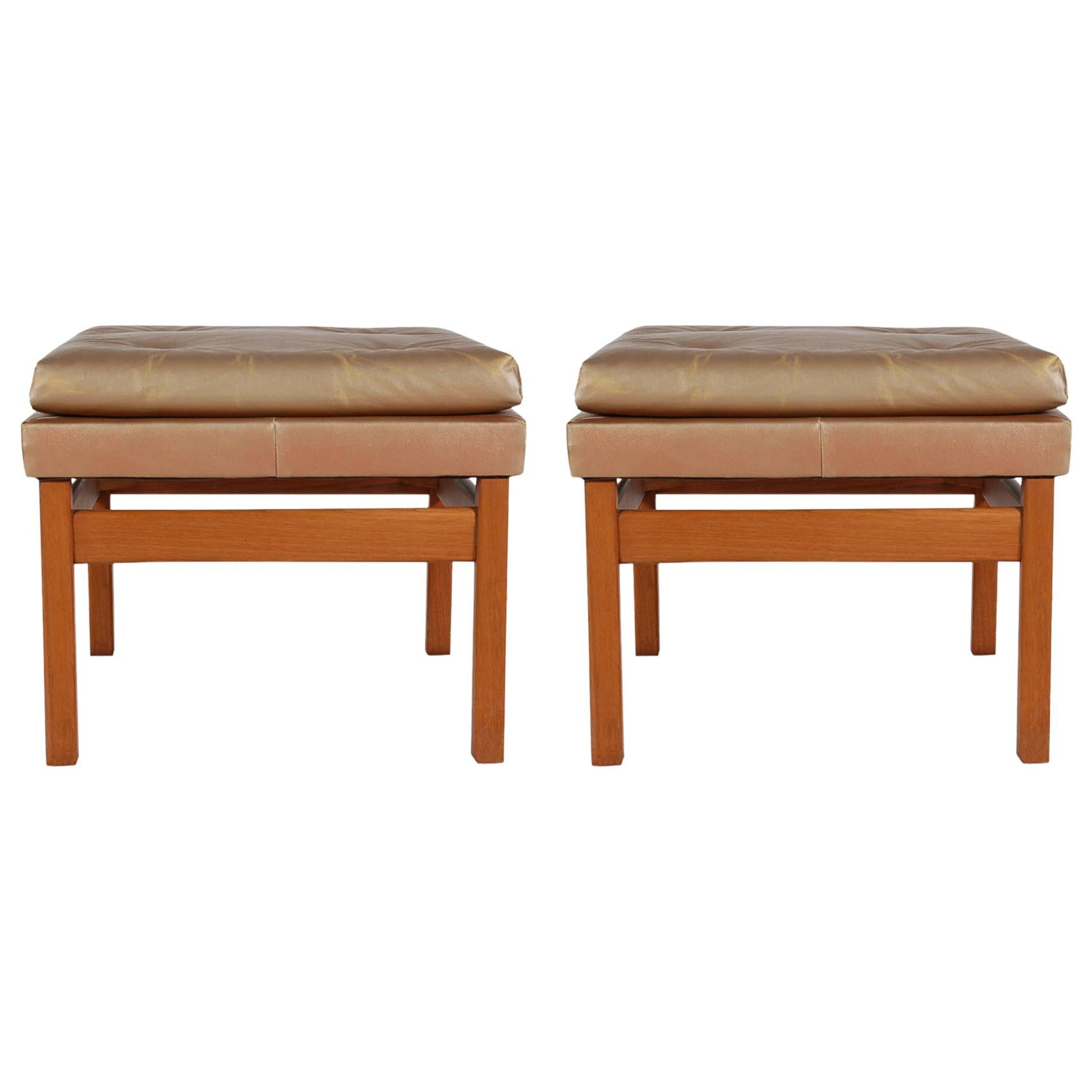 Mid-Century Modern Upholstered and Wood Bench Set by Milo Baughman Thayer Coggin