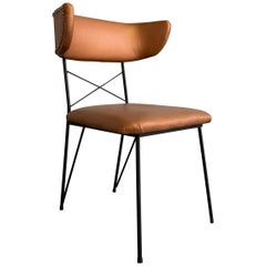 Mid-Century Modern Upholstered Wrought Iron Side Chair