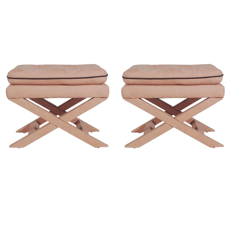 American Mid-Century Modern Upholstered X Bench Set or Ottoman Set by Billy Baldwin For Sale