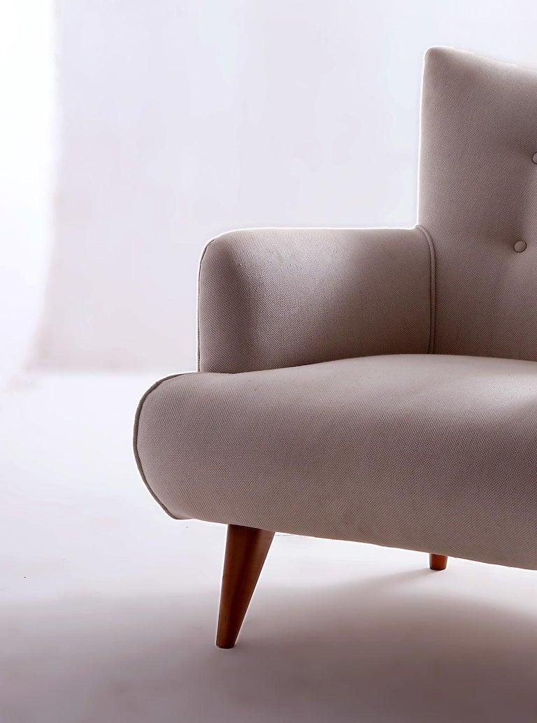 Brazilian Mid-Century Modern Upholstery Lounge Chair by Joaquim Tenreiro, Brazil, 1956 For Sale