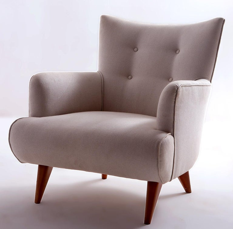 Mid-20th Century Mid-Century Modern Upholstery Lounge Chair by Joaquim Tenreiro, Brazil, 1956 For Sale