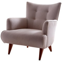 Mid-Century Modern Upholstery Lounge Chair by Joaquim Tenreiro, Brazil, 1956