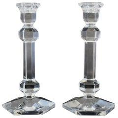 Mid-Century Modern Val St. Lambert Pair of Crystal Glass Belgian Candlesticks