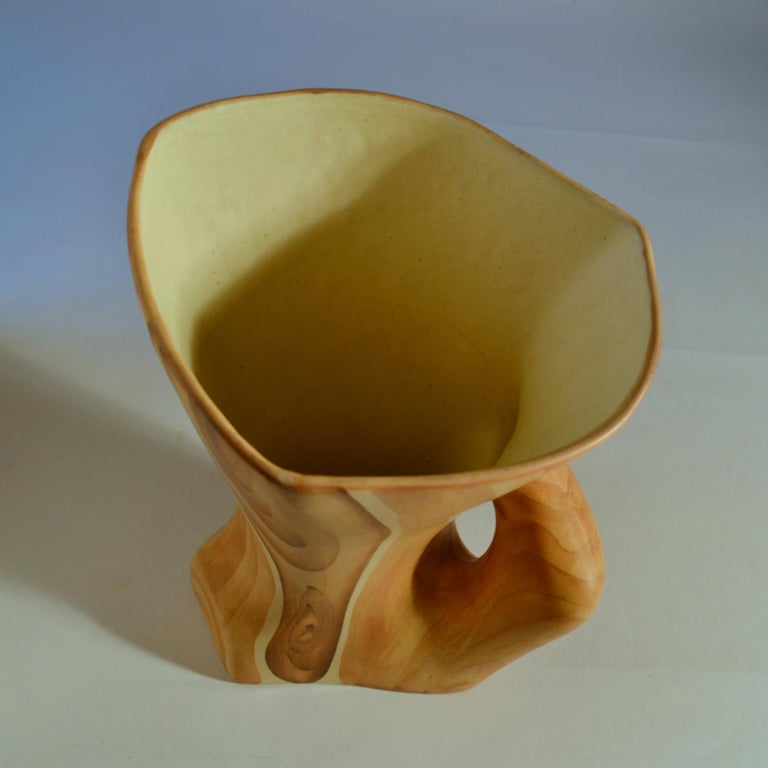 Mid-20th Century Ceramic Faux Bois Pitcher by Grandjean Jourdan Vallauris  For Sale