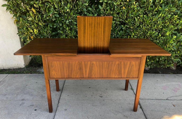 Danish Modern Teak Flip Top Mirror Vanity or Desk In Good Condition For Sale In Los Angeles, CA