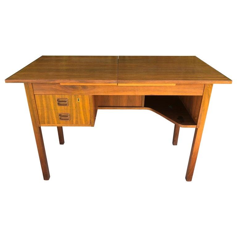 Danish Modern Teak Flip Top Mirror Vanity or Desk For Sale