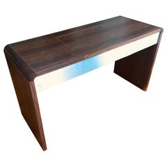 Mid-Century Modern Vanity Table in Dark Brown Veneer, Hidden Mirror Compartment