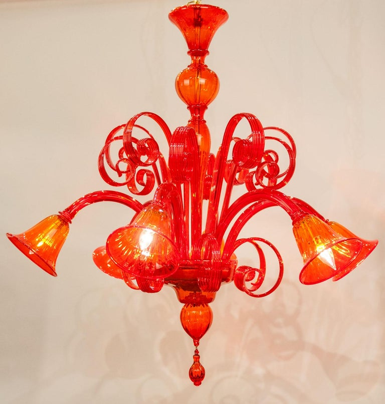 Mid-Century Modern Venetian Crystal Chandelier In Excellent Condition For Sale In Hudson, NY