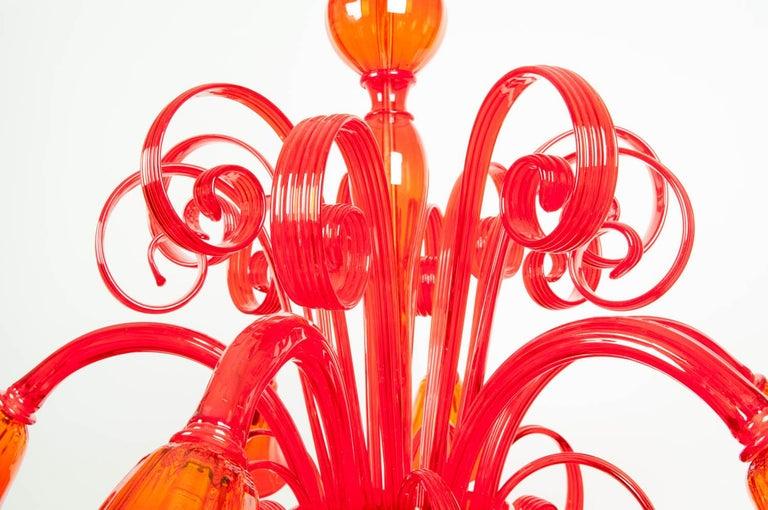 Murano Glass Mid-Century Modern Venetian Crystal Chandelier For Sale