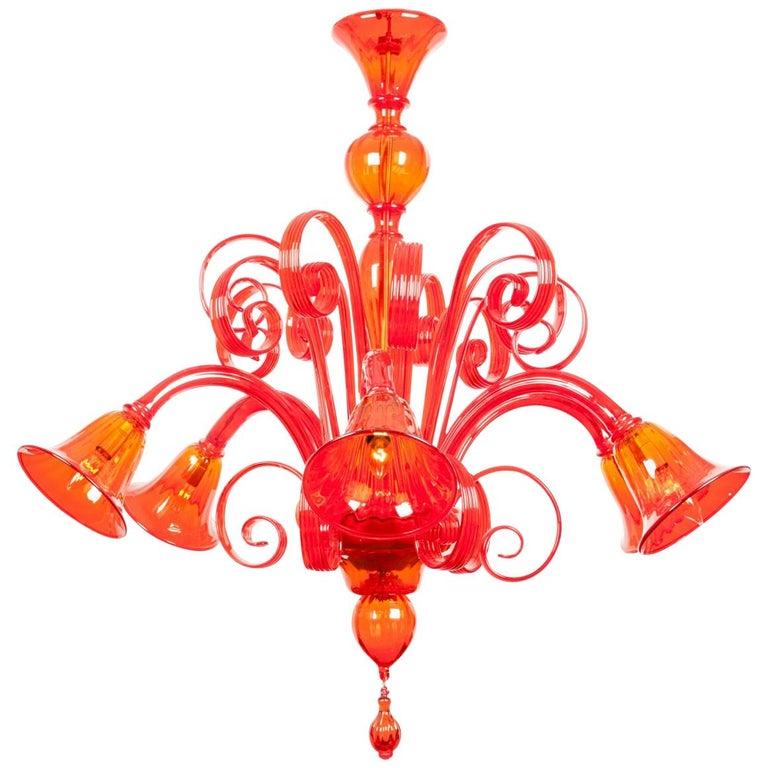 Mid-Century Modern Venetian Crystal Chandelier For Sale