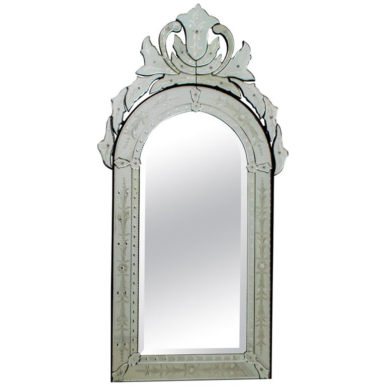 Mid-Century Modern Venetian Etched and Beveled Mirror, 1950s For Sale