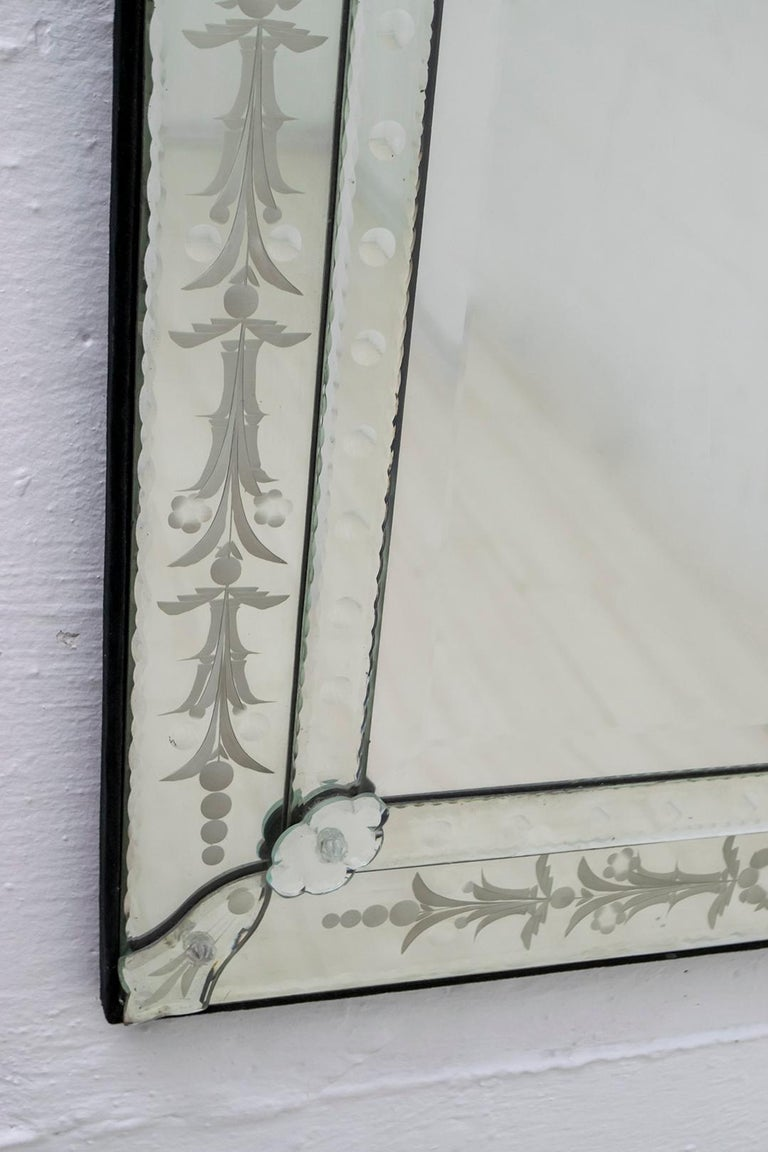 Mid-20th Century Mid-Century Modern Venetian Etched and Beveled Mirror, 1950s For Sale