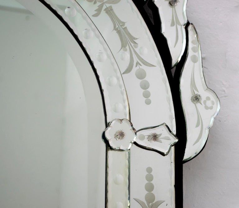 Murano Glass Mid-Century Modern Venetian Etched and Beveled Mirror, 1950s For Sale