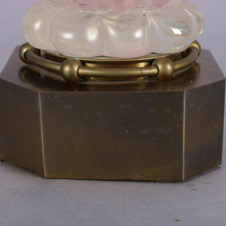 Brass Mid-Century Modern Venetian Murano Art Glass Table Lamp, circa 1960