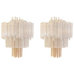 Mid-Century Modern Venini Crystal and Metal Pair of Italian Sconces