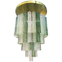 Mid-Century Modern Venini Murano Glass and Brass Flush Mount Chandelier