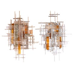 Mid-Century Modern Veronese Glass Sconces with Silvered Iron Fittings, Poliarte