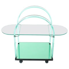 Mid-Century Modern Very Fine Glass / Mirror Bar Cart