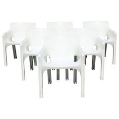 Mid-Century Modern Vico Magistretti Artemide Set of 6 Gaudi Armchairs, Italy