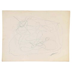 Mid-Century Modern Vintage Abstract Line Drawing on Paper