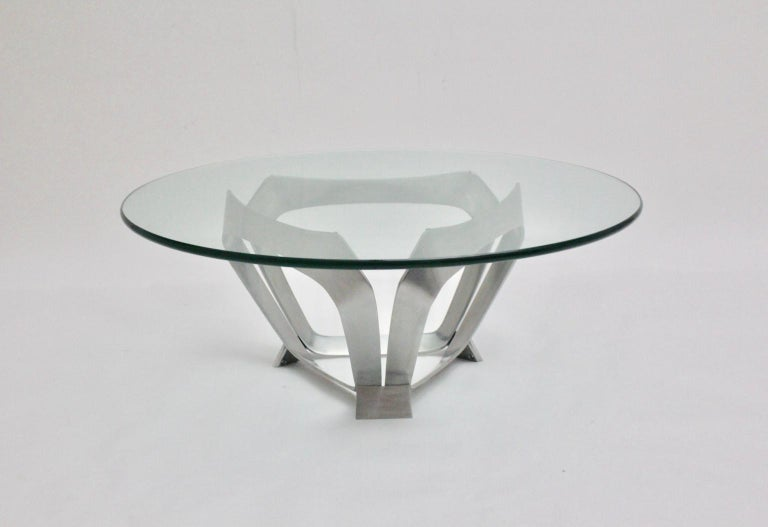 Mid-Century Modern Vintage Aluminum Coffee Table Knut Hesterberg, 1960s, Germany In Good Condition For Sale In Vienna, AT