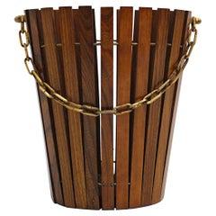 Mid-Century Modern Vintage Ashwood Brass Paper Basket Austria 1960s