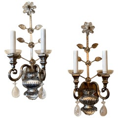 Mid-Century Modern Vintage Baguès Rock Crystal Silvered Flower Urn Sconces, Pair