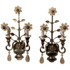 Mid-Century Modern Vintage Baguès Rock Crystal Silvered Flower Urn Sconces, Pair