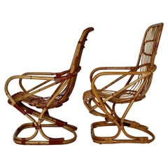 Mid-Century Modern Vintage Bent Bamboo Rattan Two Patio Armchairs, 1960s, Italy