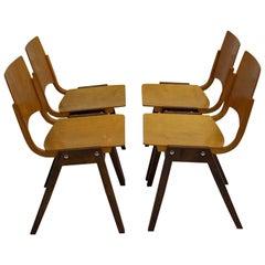 Mid-Century Modern Vintage Beech Bicolor Dining Chairs Roland Rainer 1952 Vienna