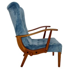Mid-Century Modern Vintage Beech Blue Armchair Lounge Chair Austria, 1950s