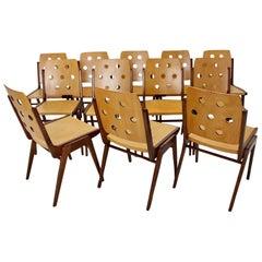 Mid-Century Modern Vintage Beech Twelve Dining Chairs Franz Schuster, Austria