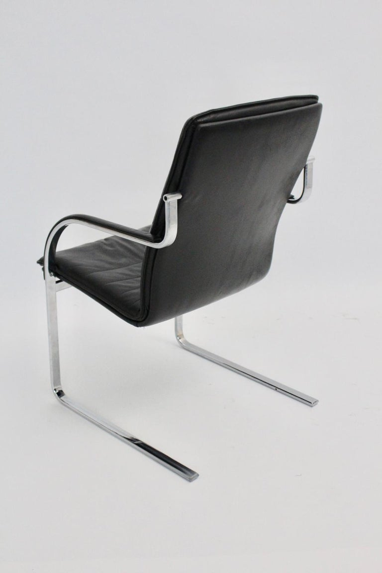 Mid-Century Modern Vintage Black Leather Desk Chair in Style of Preben  Fabricius