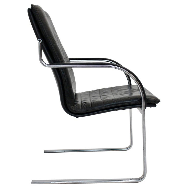 Mid Century Modern Vintage Black Leather Desk Chair In Style Of Preben Fabricius For Sale At 1stdibs