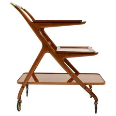 Mid-Century Modern Vintage Brass and Ashwood Bar Cart, Ico Parisi, 1950s, Italy