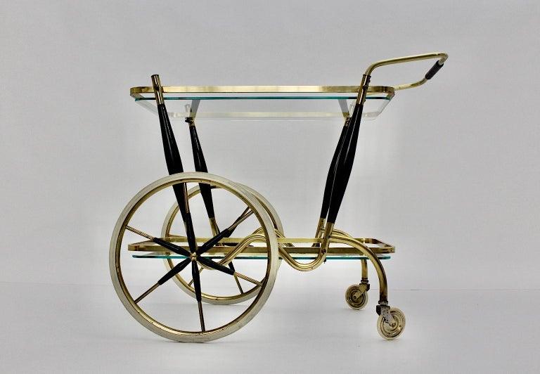 Mid-Century Modern Vintage Brass Beechwood Bar Cart, 1950s, Italy For Sale 5
