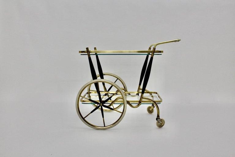 Mid-Century Modern Vintage Brass Beechwood Bar Cart, 1950s, Italy For Sale 6