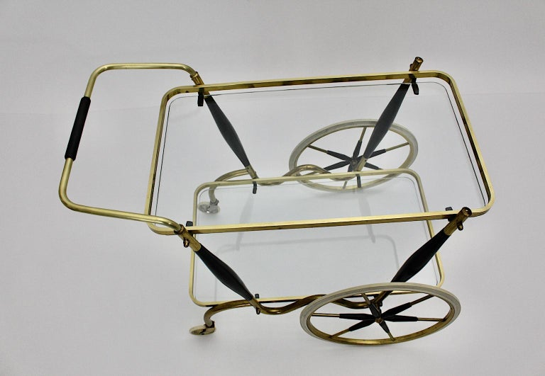 Mid-Century Modern Vintage Brass Beechwood Bar Cart, 1950s, Italy For Sale 7