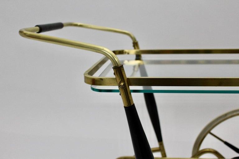 Mid-Century Modern Vintage Brass Beechwood Bar Cart, 1950s, Italy For Sale 11
