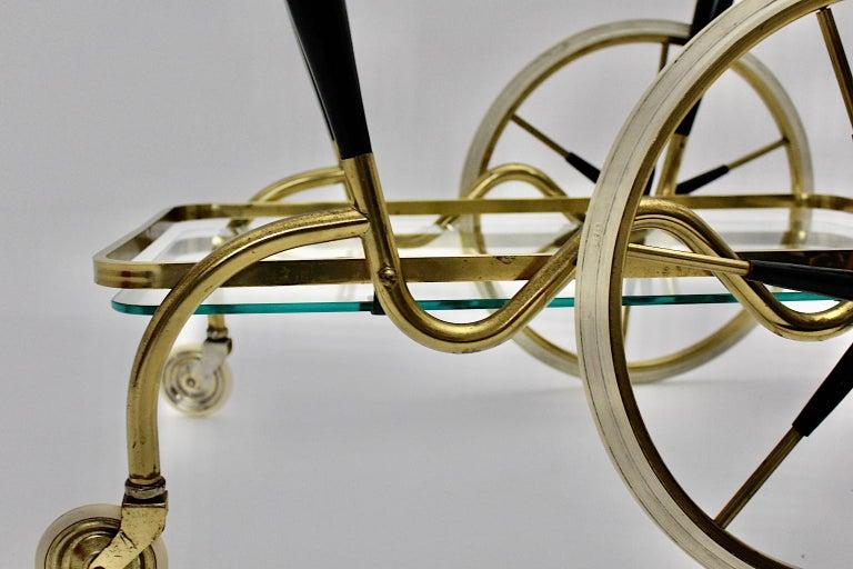 Mid-Century Modern Vintage Brass Beechwood Bar Cart, 1950s, Italy For Sale 12