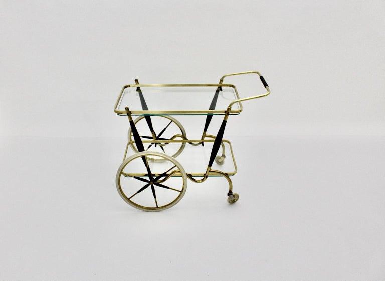 Italian Mid-Century Modern Vintage Brass Beechwood Bar Cart, 1950s, Italy For Sale