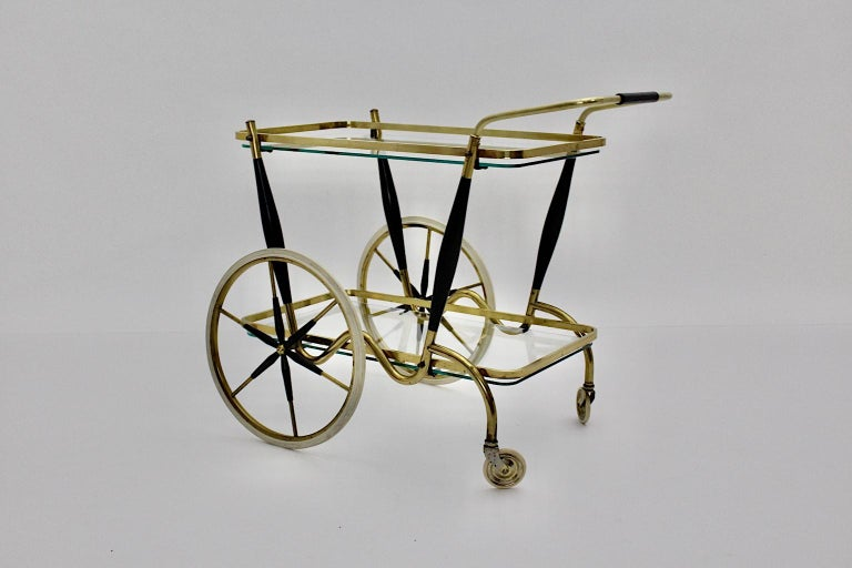 Mid-20th Century Mid-Century Modern Vintage Brass Beechwood Bar Cart, 1950s, Italy For Sale