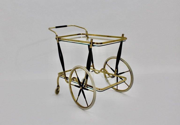 Mid-Century Modern Vintage Brass Beechwood Bar Cart, 1950s, Italy For Sale 1