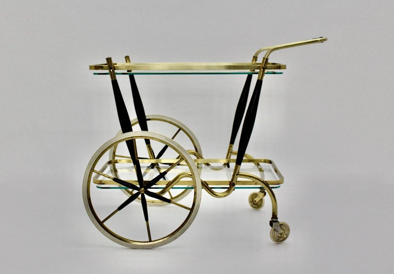 Mid-Century Modern Vintage Brass Beechwood Bar Cart, 1950s, Italy For Sale 2