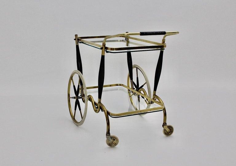 Mid-Century Modern Vintage Brass Beechwood Bar Cart, 1950s, Italy For Sale 3
