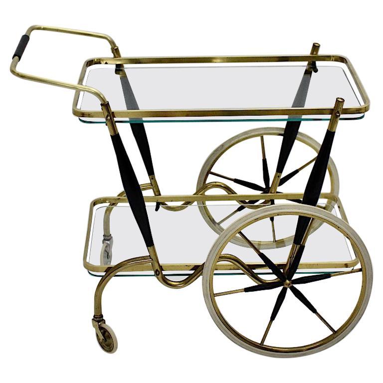 Mid-Century Modern Vintage Brass Beechwood Bar Cart, 1950s, Italy For Sale